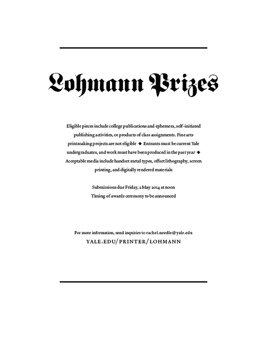 Lohmann Prizes, early announcement