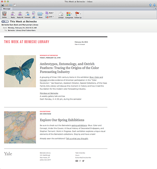 New Beinecke Newsletter example